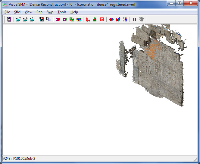 The dense pointcloud reconstructed and displayed in VisualSFM