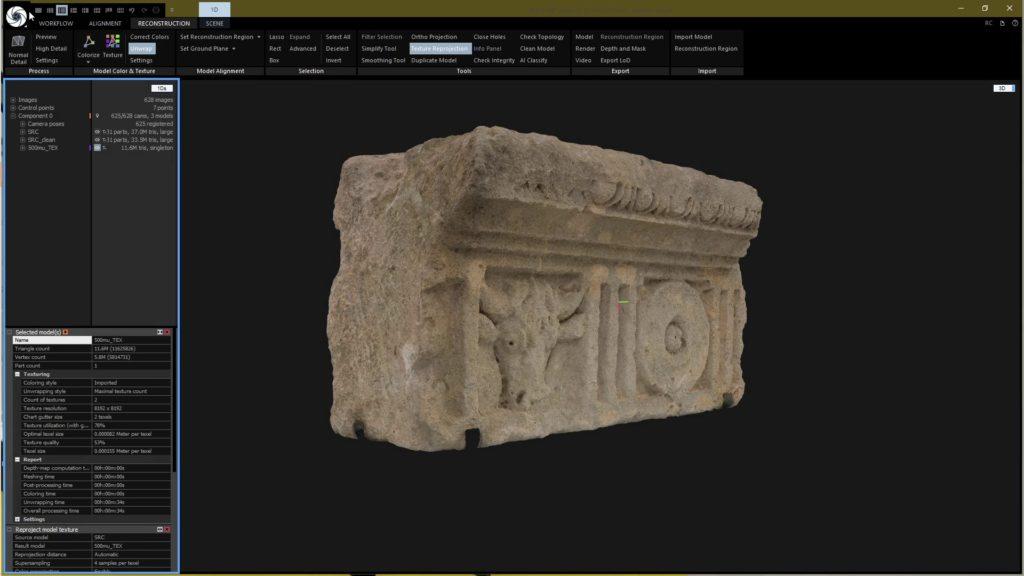 Capture écran logiciel de photogrammétrie. Narbo Via, inv. 993.