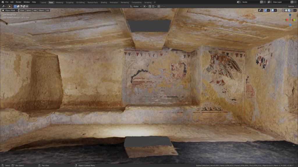 Vue de la Tomba dell'Orco I, sans les piliers modernes. Capture d'écran Blender