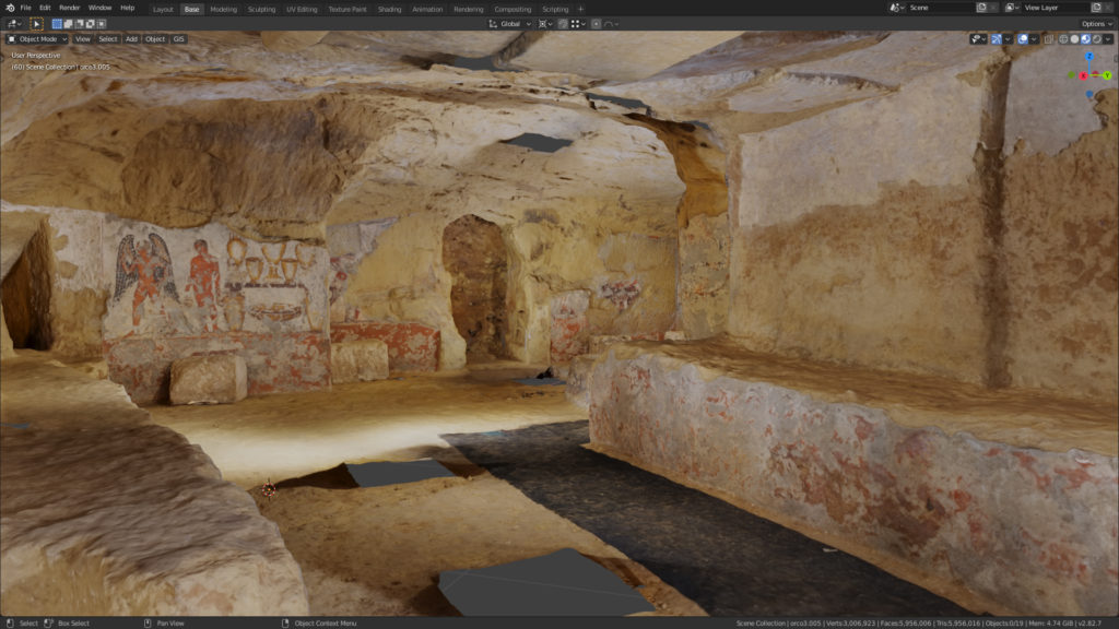 Vue de la Tomba dell'Orco II, sans les piliers modernes. Capture d'écran Blender