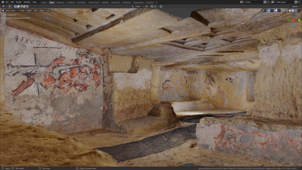 Vue de la Tomba dell'Orco III, sans les piliers modernes. Capture d'écran Blender