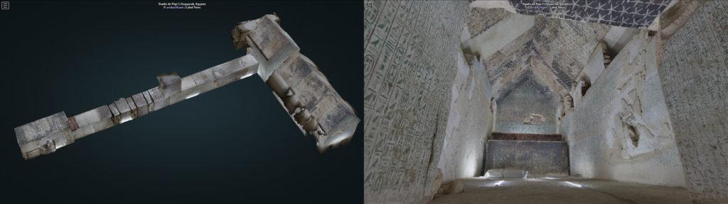 Modèle photogrammétrique de la tombe de Pépi II