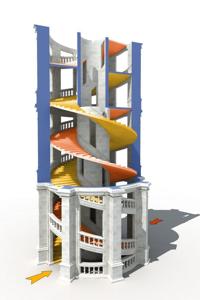 Escalier à hélice double du château de Chambord