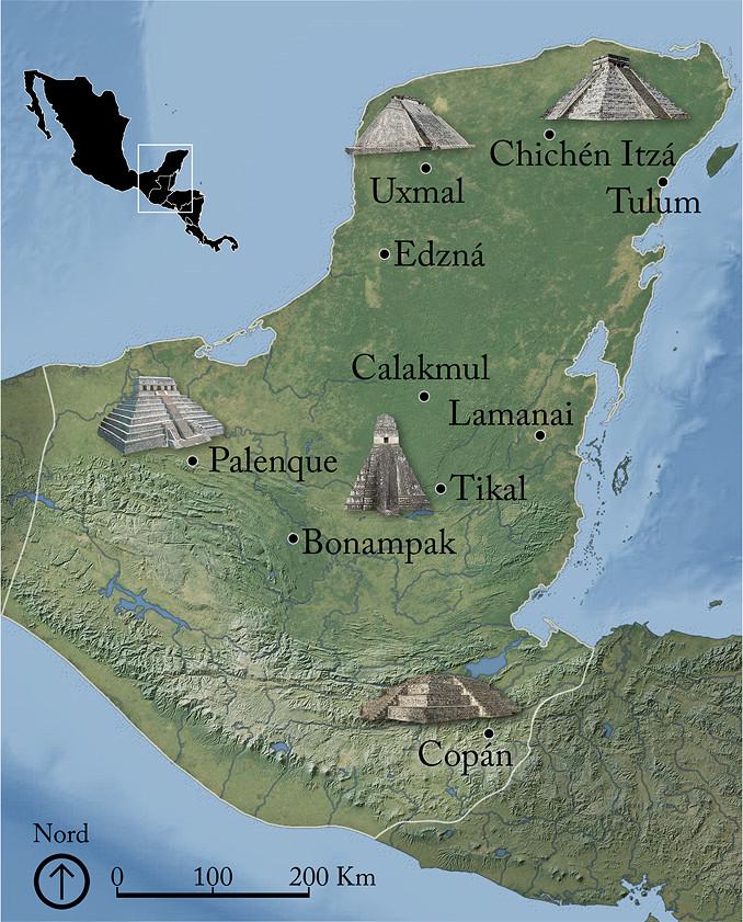 Carte du Yucatan maya